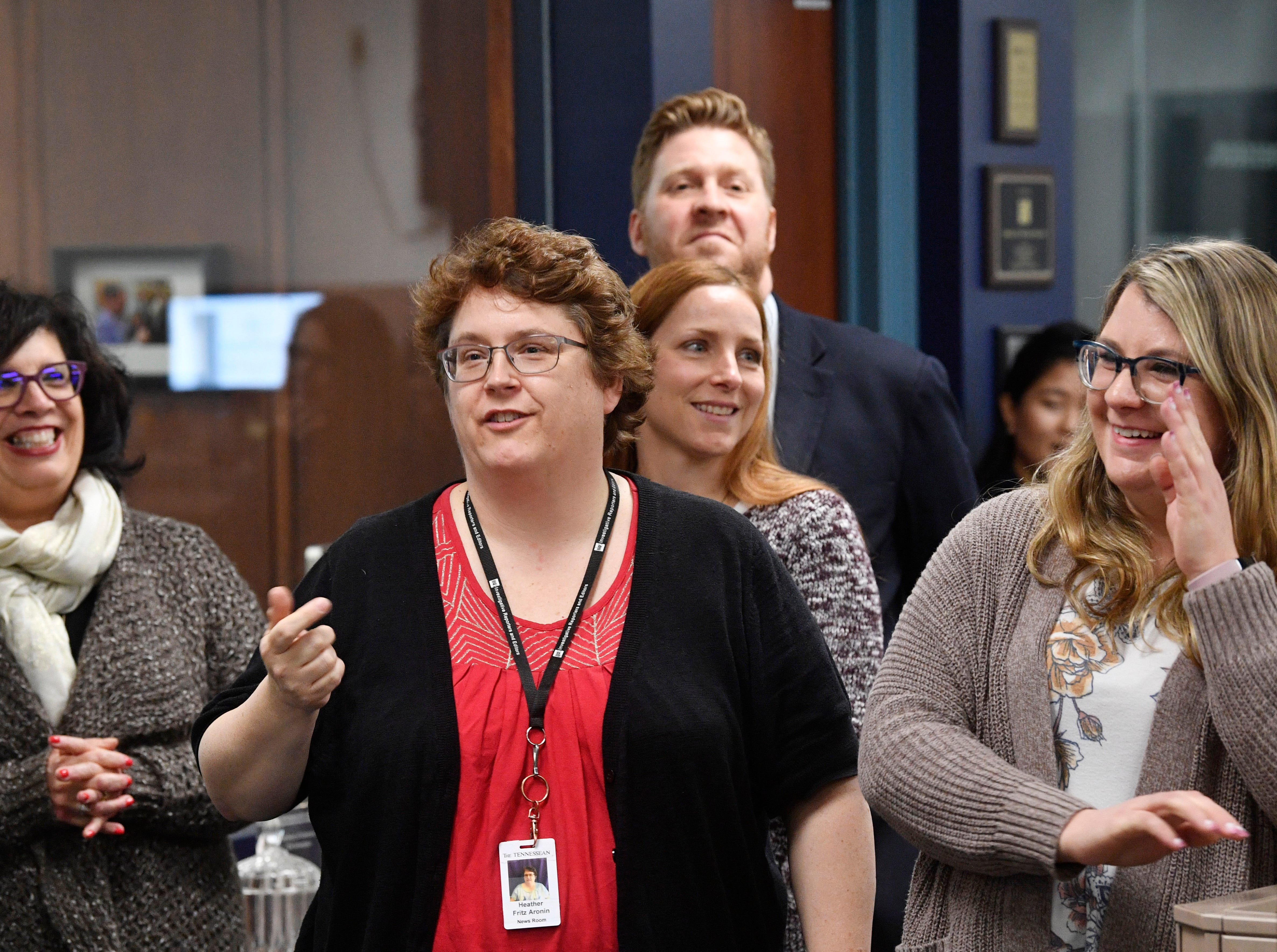 Planning Editor Heather Fritz-Aronin speaks during a retirement party in The Tennessean newsroom Wednesday,Jan. 2, 2019, in Nashville.