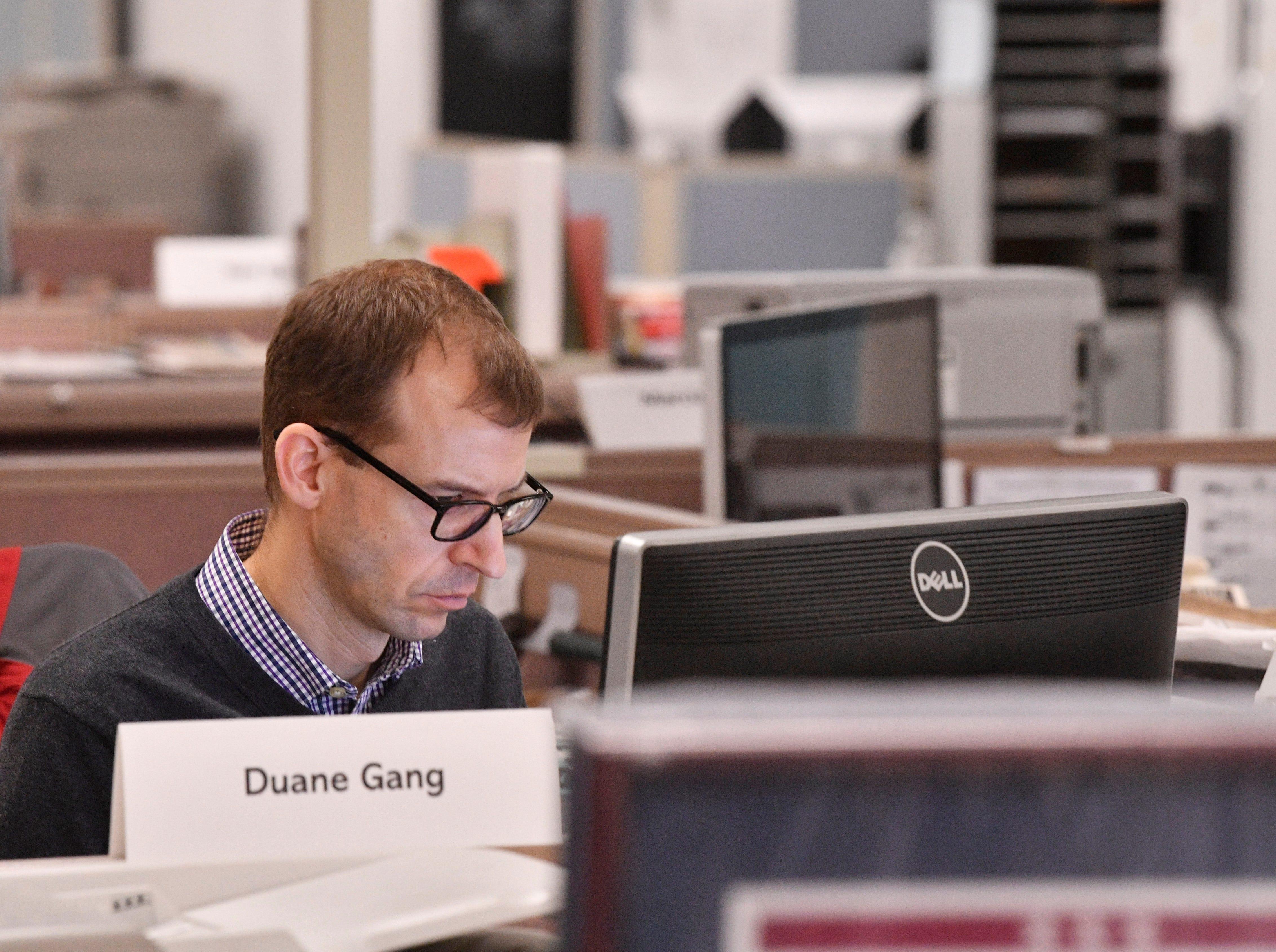 Content Strategist Duane Gang works in The Tennessean newsroom Wednesday, Jan. 2, 2019, in Nashville.