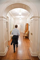Upstairs in the private area of the Governor's residence, Gov. Bill Haslam walks down the hall to he stairs that will lead him to a dinner party he is hosting for the board of the Governor's Books from Birth FoundationTuesday Jan. 23, 2018, in Nashville, Tenn
