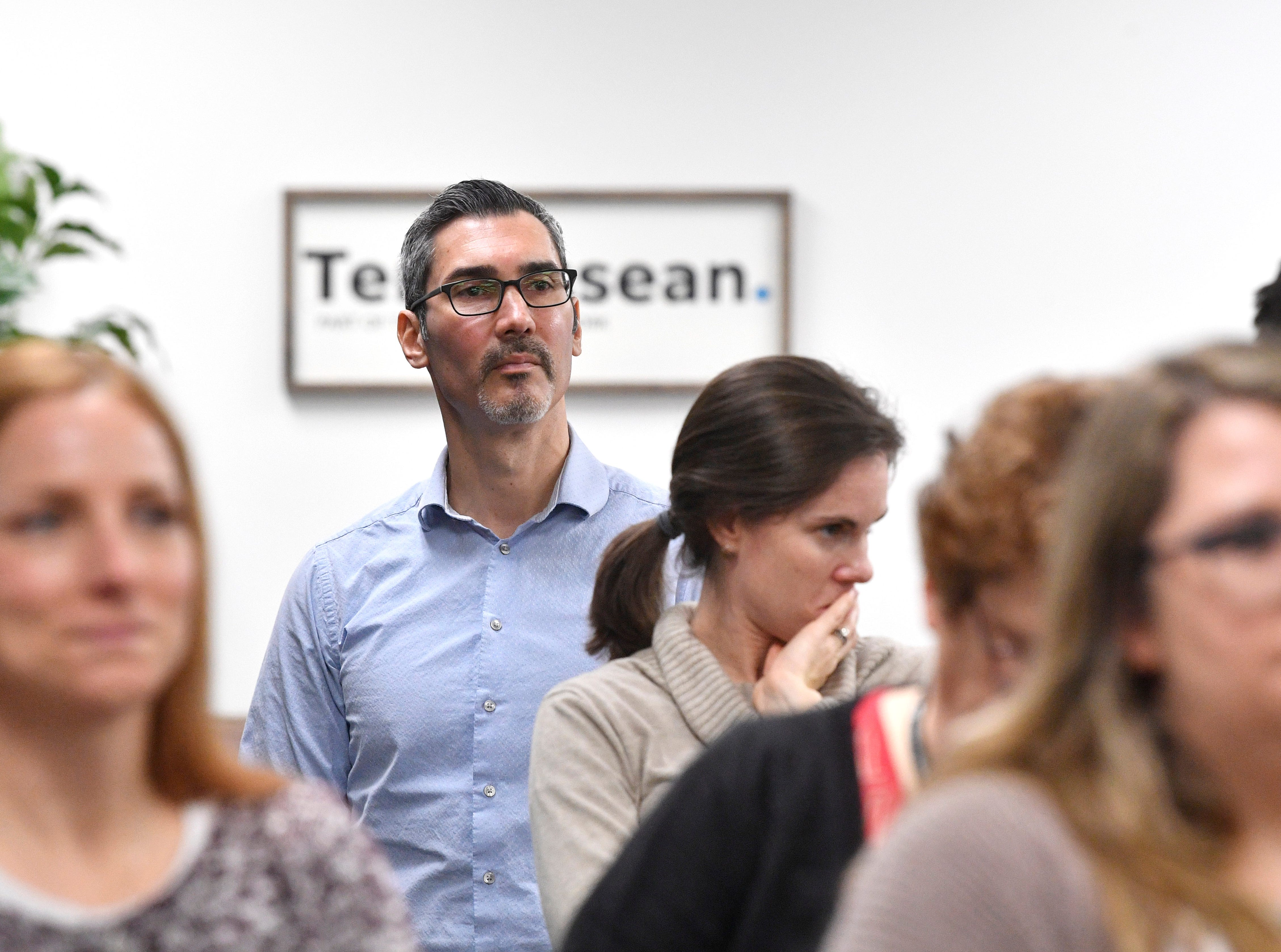 Engagement Editor David Plazas listens with the staff during a retirement party in The Tennessean newsroom Wednesday, Jan. 2, 2019, in Nashville.