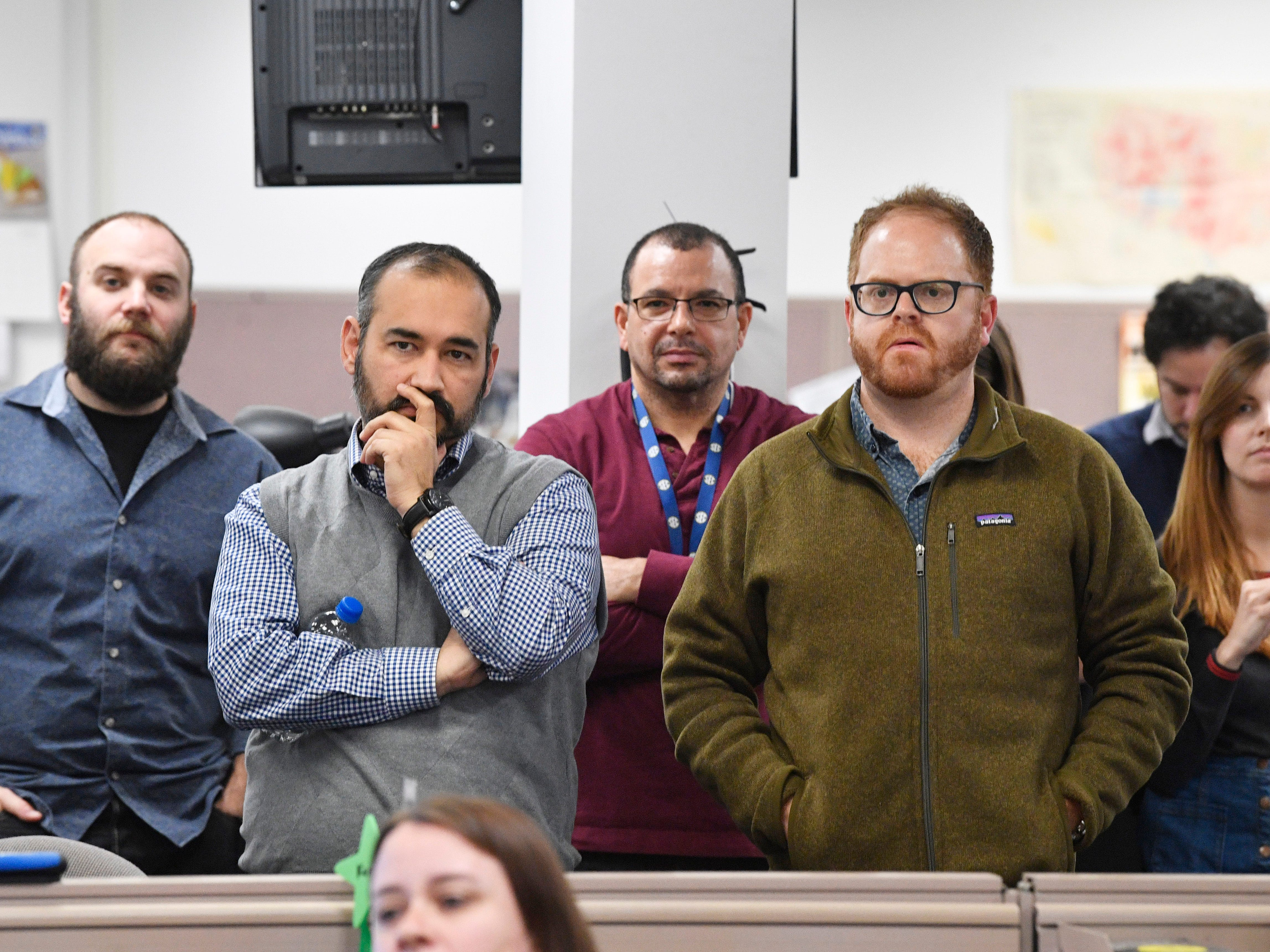 Staff members listen during a meeting in The Tennessean newsroom Wednesday, Jan. 2, 2019, in Nashville.