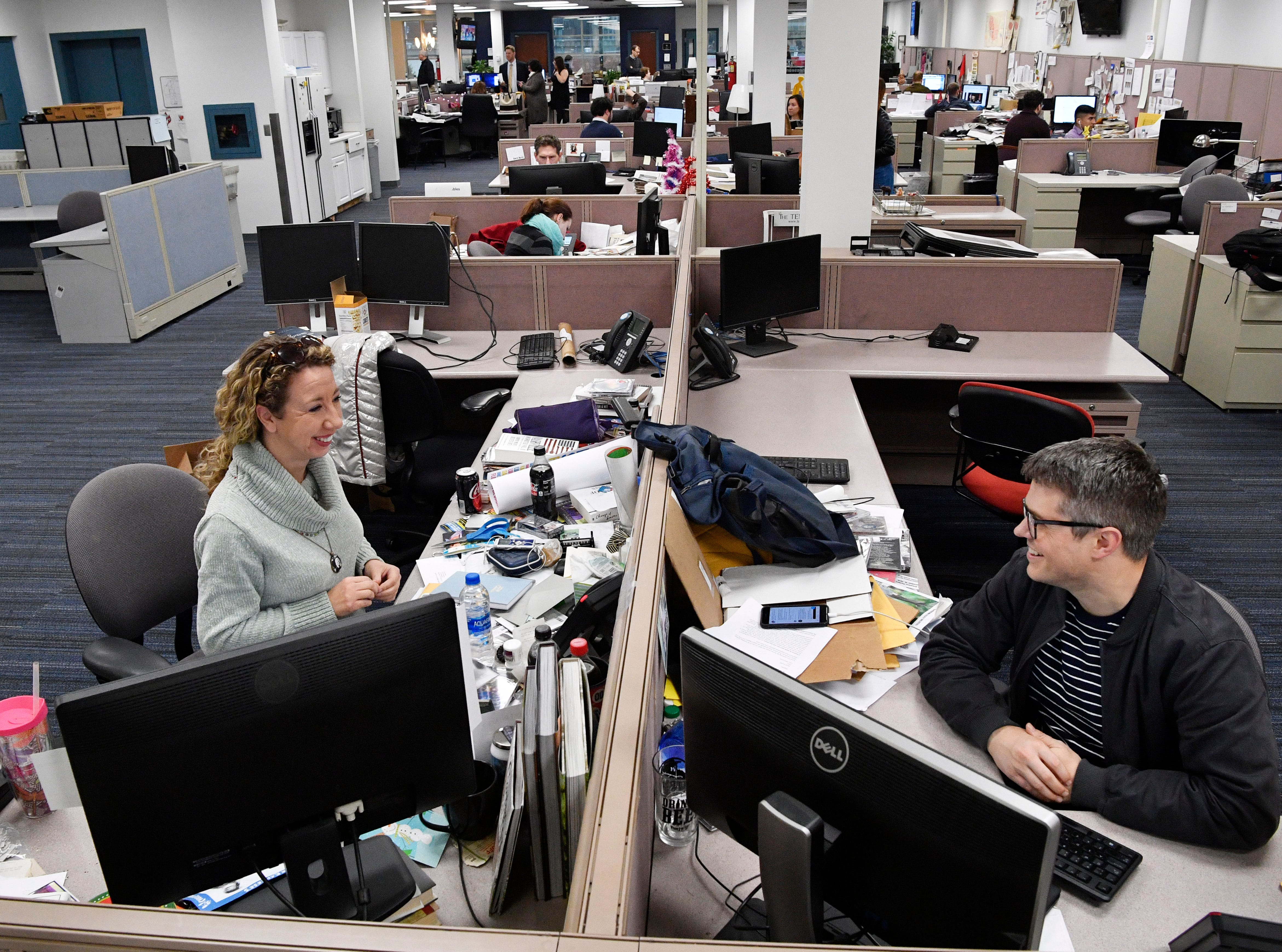 Country music reporter Cindy Watts and music reporter Dave Paulson talk in The Tennessean newsroom Wednesday, Jan. 2, 2019.