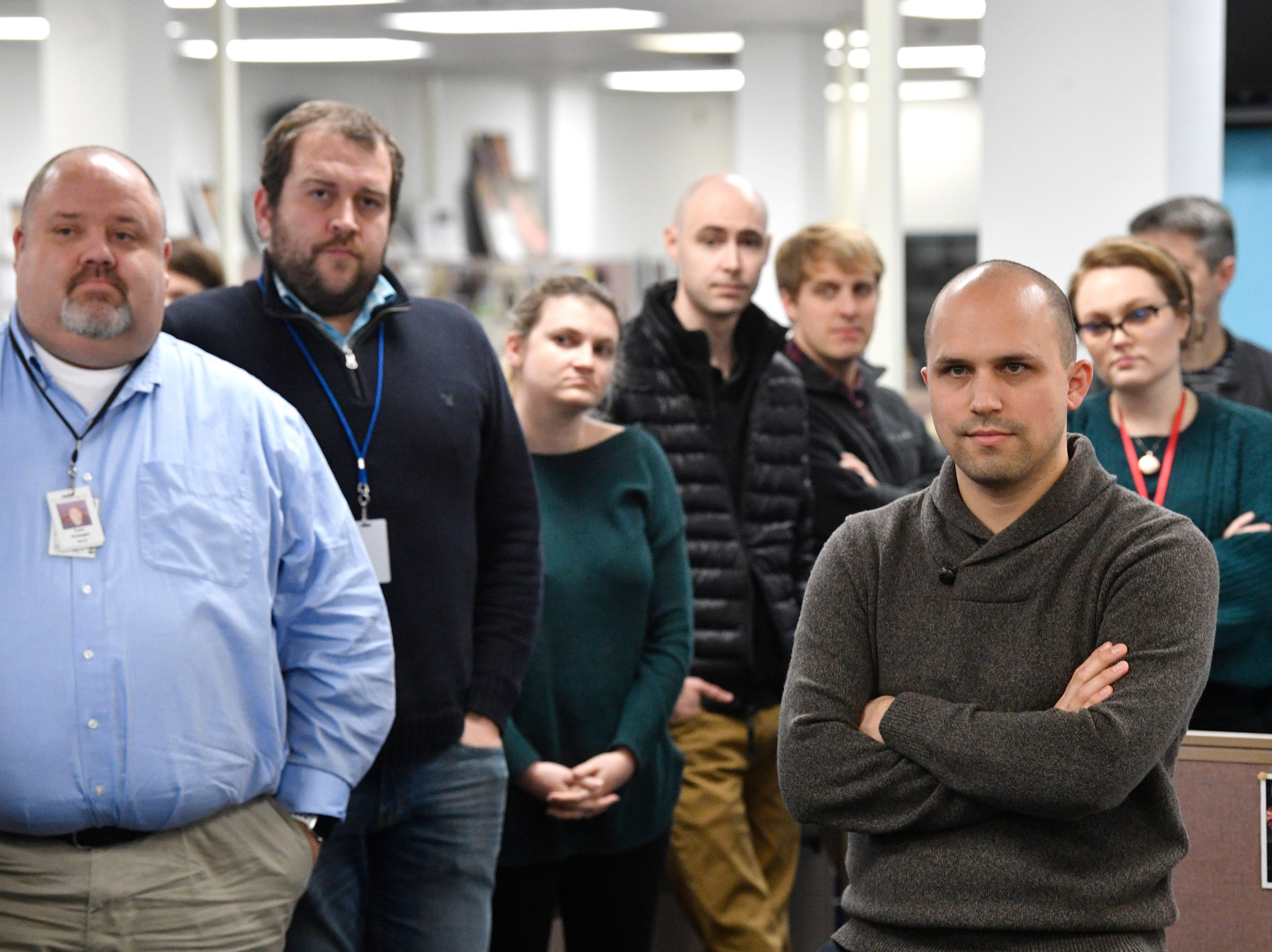 Staff members listen as Editor Michael Anastasi speaks in The Tennessean newsroom Wednesday, Jan. 2, 2019, in Nashville.