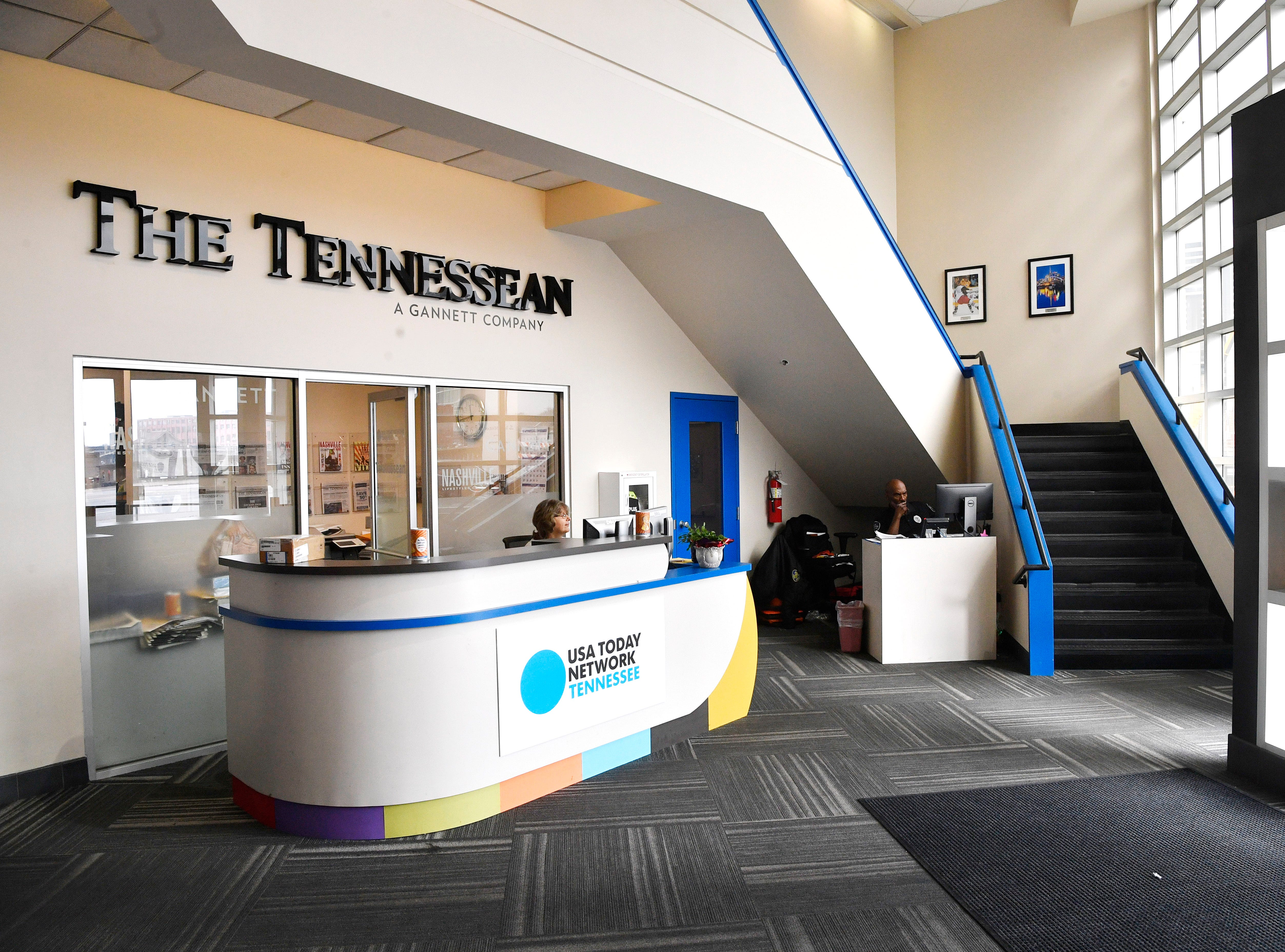 The lobby at The Tennessean at 1100 Broadway in Nashville