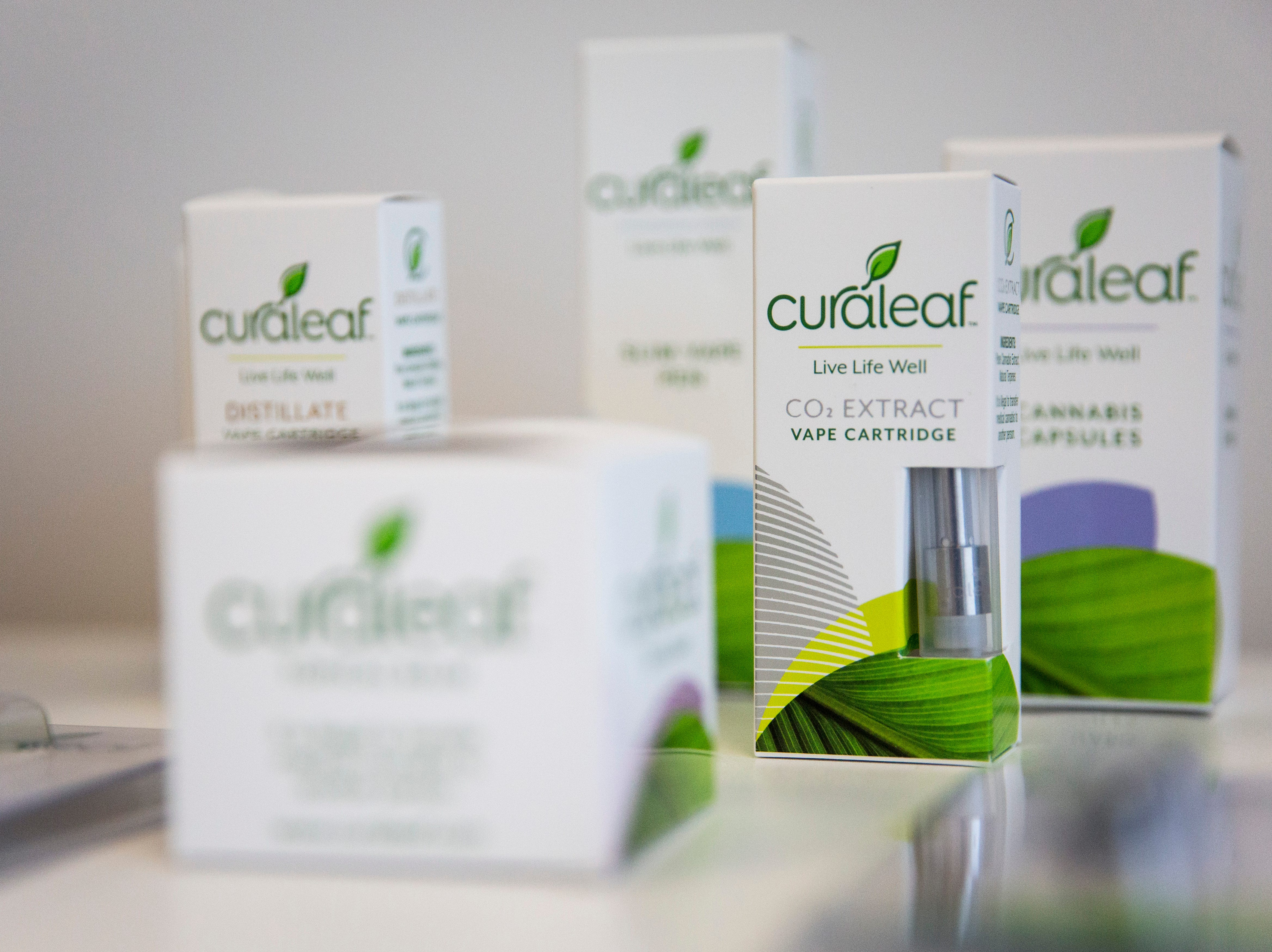 Curaleaf products, including vape pens and cannabis capsules, are available for purchase during the grand opening of the Curaleaf medical marijuana dispensary in Bonita Springs on Thursday, January 17, 2019.