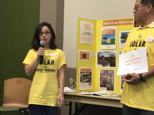 Jody Finver, South Florida Program Coordinator for Solar United Neighbors of Florida, talks about the benefits of a new Solar Co-op in Collier County on Jan. 17, 2019, at the Naples Botanical Garden in East Naples.