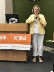 Patricia Forkan, chairwoman of the Environmental Affairs Commitee for the League of Women Voters in Collier County, leads a presentation on a new Solar Co-op in the county on Jan. 17, 2019, at Naples Botanical Garden.
