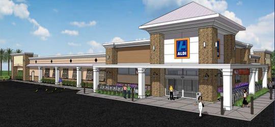 A 2017 rendering of the proposed Aldi store in Estero.