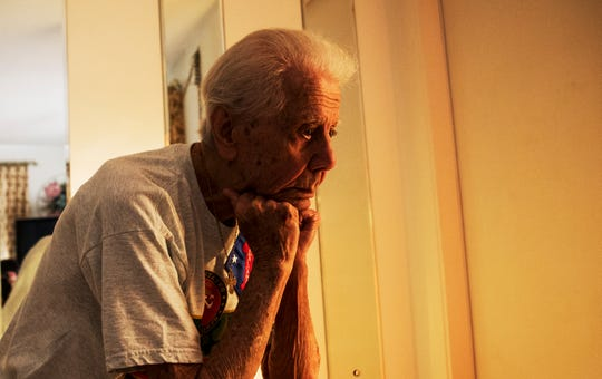 Oliver Marcelli, 97, served in the Marines during World War II on a group of islands in the southwest Pacific, including Guadalcanal. He was later wounded on Peleliu. He has lived in the same Naples Park home with his wife, Mary, for 40 years.