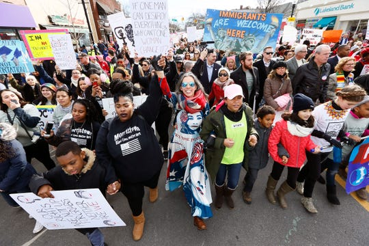 Thousands march down South Street in Morristown during the Women's March on New Jersey in 2018.