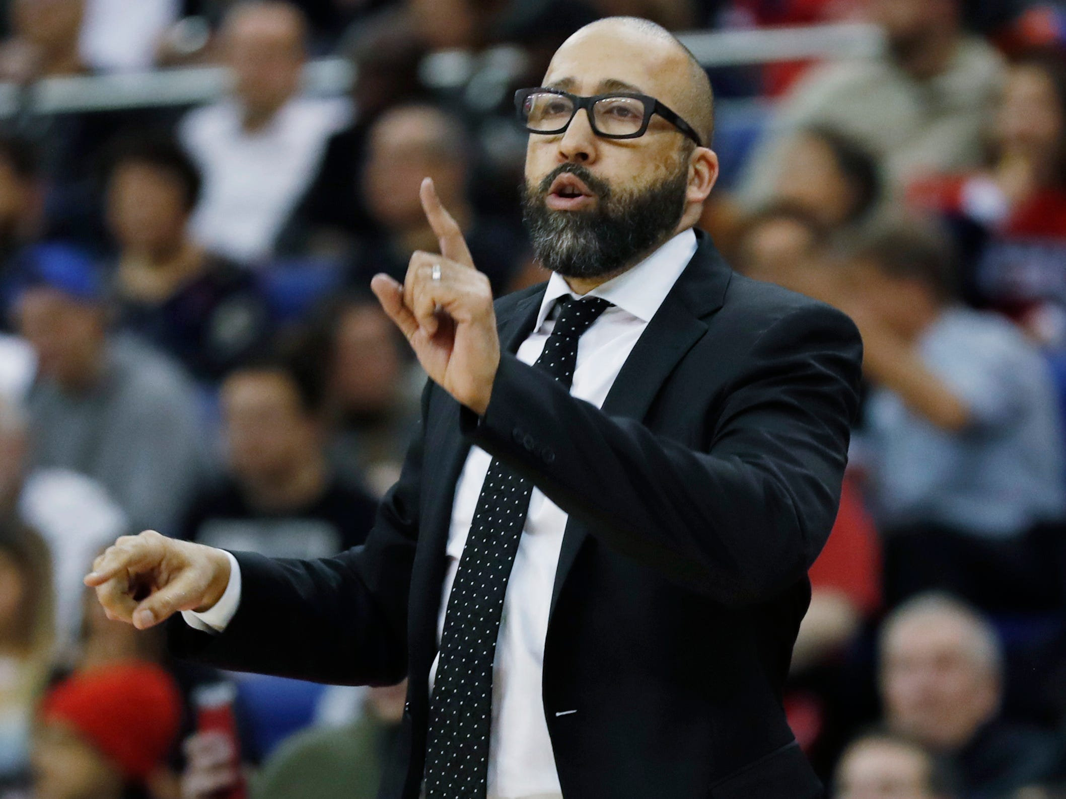 New York Knicks head coach David Fizdale gestures during an NBA basketball game between New York Knicks and Washington Wizards at the O2 Arena, in London, Thursday, Jan.17, 2019.