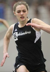 Kalleen Rose Ozanic of West Milford got fourth place in the 55 meter dash.  Monday, January 31, 2017The individual divisional star at the Big North Independence meet on Wednesday was West Milford's Kallen Rose Ozanic, who swept the 55, high, long and triple jumps.