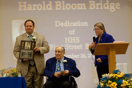 On Sept. 26, 2015, Hackensack High School renamed its First Street bridge in honor of Harold Bloom for his 39 years of service to the school district and community.