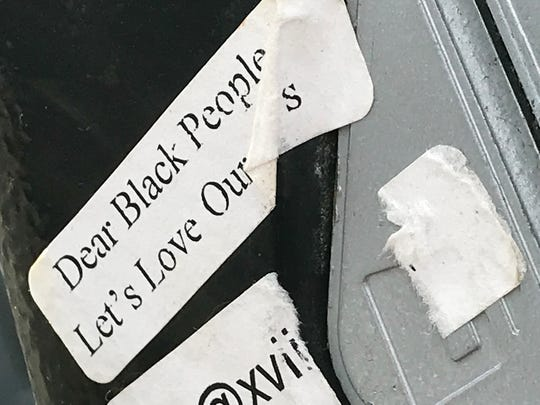 """Dear Black People, Let's Love Ourselves."" Seen on a parking meter, Martin Luther King Blvd., Newark"