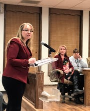 Audrey Jaramillo of Jaramillo Accounting /group presents the Alamogordo Public School District 2018 regular audit at the APS Board of Education's regular meeting Jan. 16