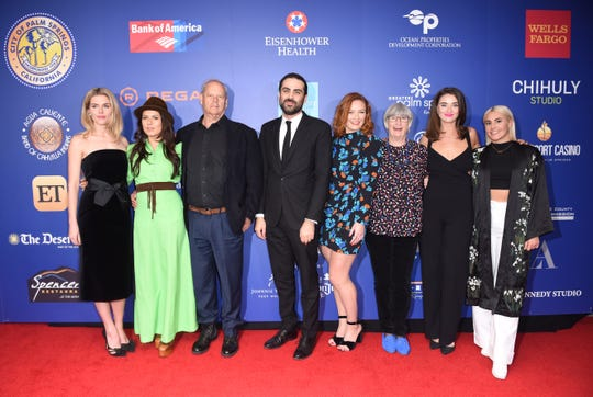 "Cast of the Closing Night film ""Ladies in Black"" (l-r) Rachael Taylor, Allanah Zitserman, director Bruce Beresford, artistic director of the Festival Michael Lerman, Alison McGirr, Sue Milliken, Celia Massingham and Emily De Margheriti."