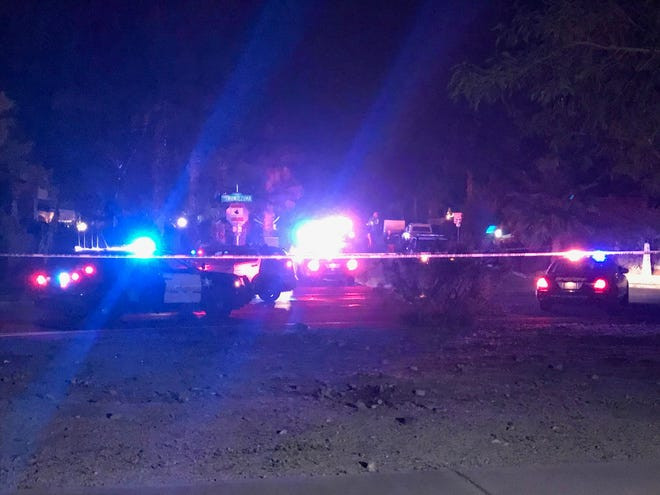 Riverside County sheriff's deputies on the scene Wednesday night in La Quinta at an officer-involved shooting. (Jan. 17, 2019)