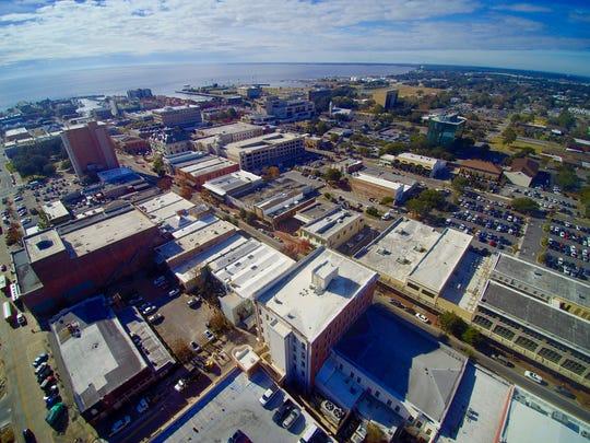 An aerial photo overlooking Palafox Street.