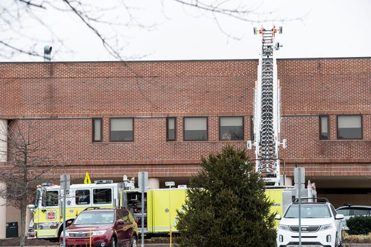 A fire truck from Gettysburg Fire company responds to the scene of a reported commercial fire at WellSpan Gettysburg Hospital at 147 Gettys St. on Thursday, Jan. 17, 2019. Units from as far as Hanover responded to the incident.