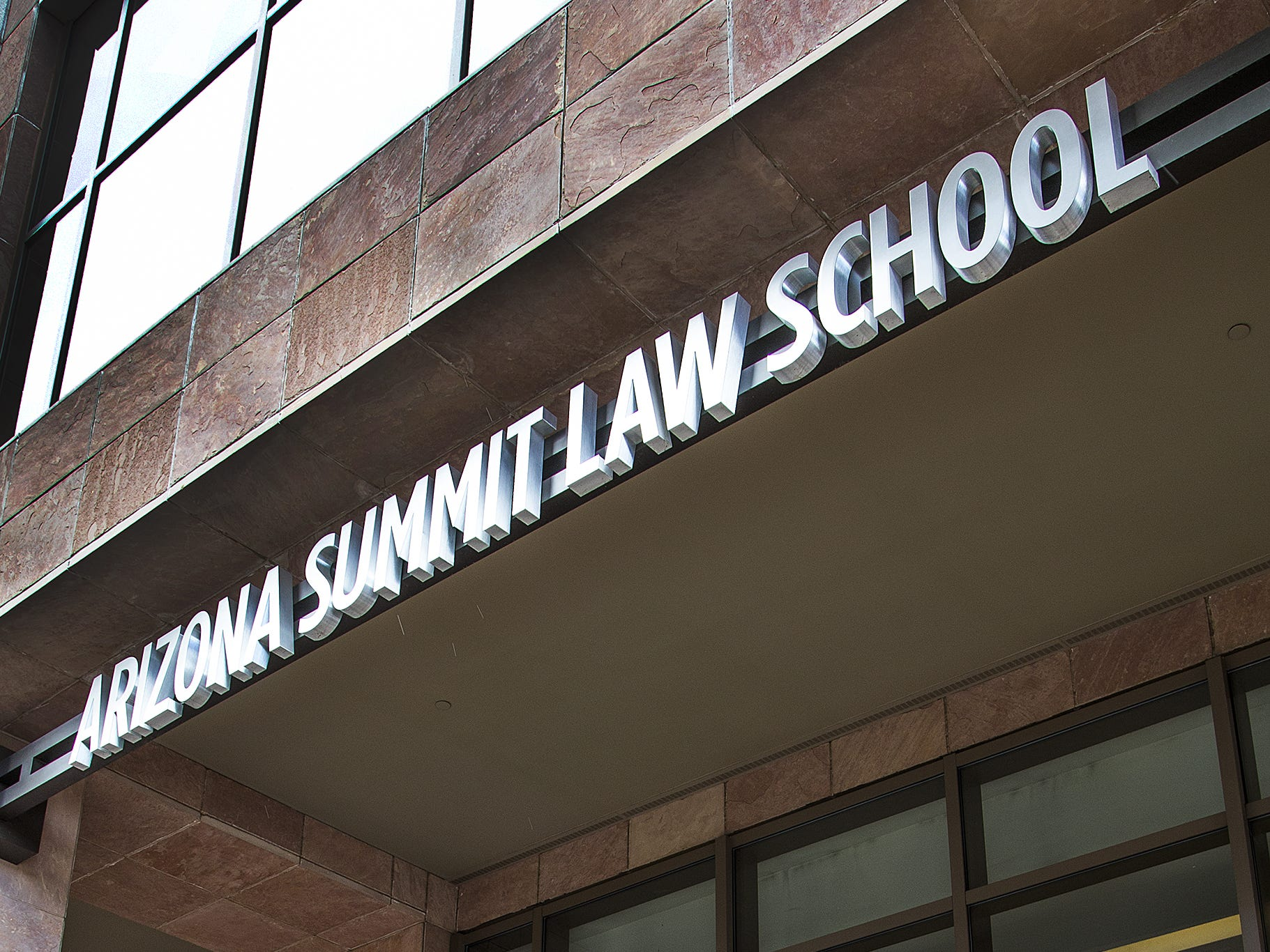 The main entrance of Arizona Summit Law School at 1 North Central in downtown Phoenix in February 2017. School officials announced in fall 2018 that the school will close once current students finish in May 2020. Students are now finishing up their degrees by taking classes at other law schools.