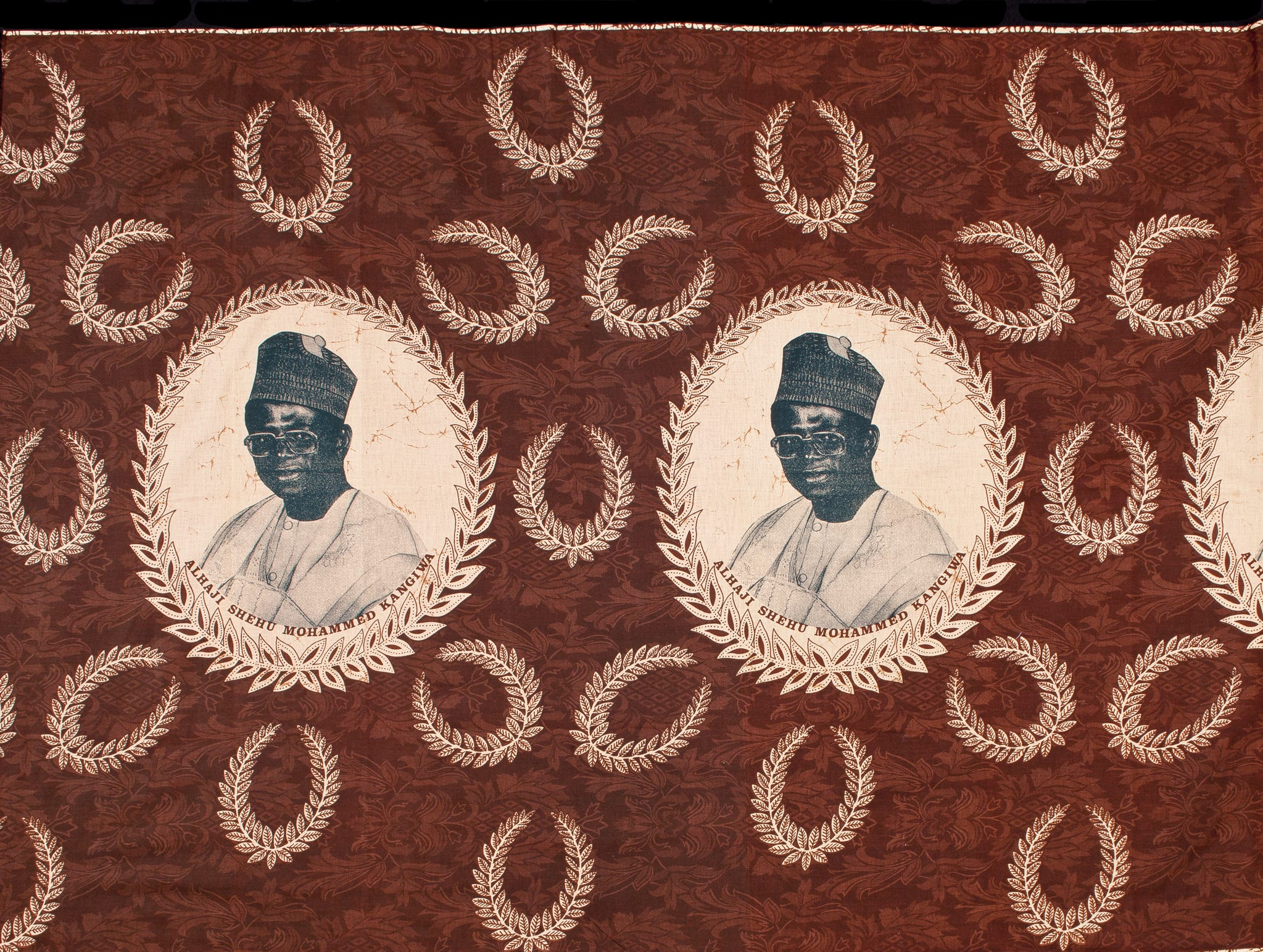"""""""Portrait of Alhaji Shehu Muhammad Kangiwa with Olive Leaf Wreaths, Burkina Faso, late 20th century."""