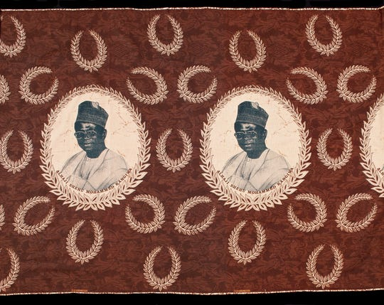"""Portrait of Alhaji Shehu Muhammad Kangiwa with Olive Leaf Wreaths, Burkina Faso, late 20th century."