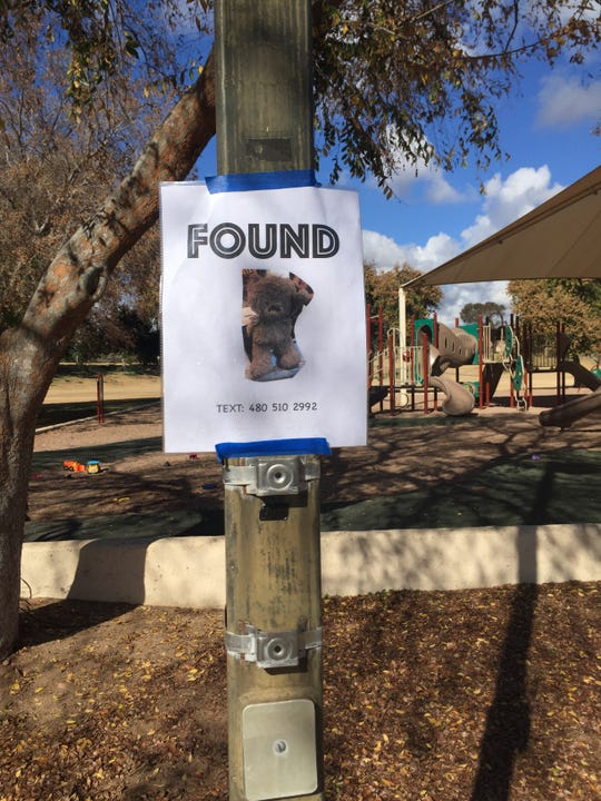 "Gina Horne Bernbaum put up a sign  that said ""FOUND"" with a picture of the bear and her phone number at Cactus Park in Scottsdale."