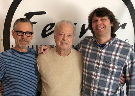 Jimmy Spellman (c) at Fervor Records with David Hilker (l) and Jeff Freundlich (r).