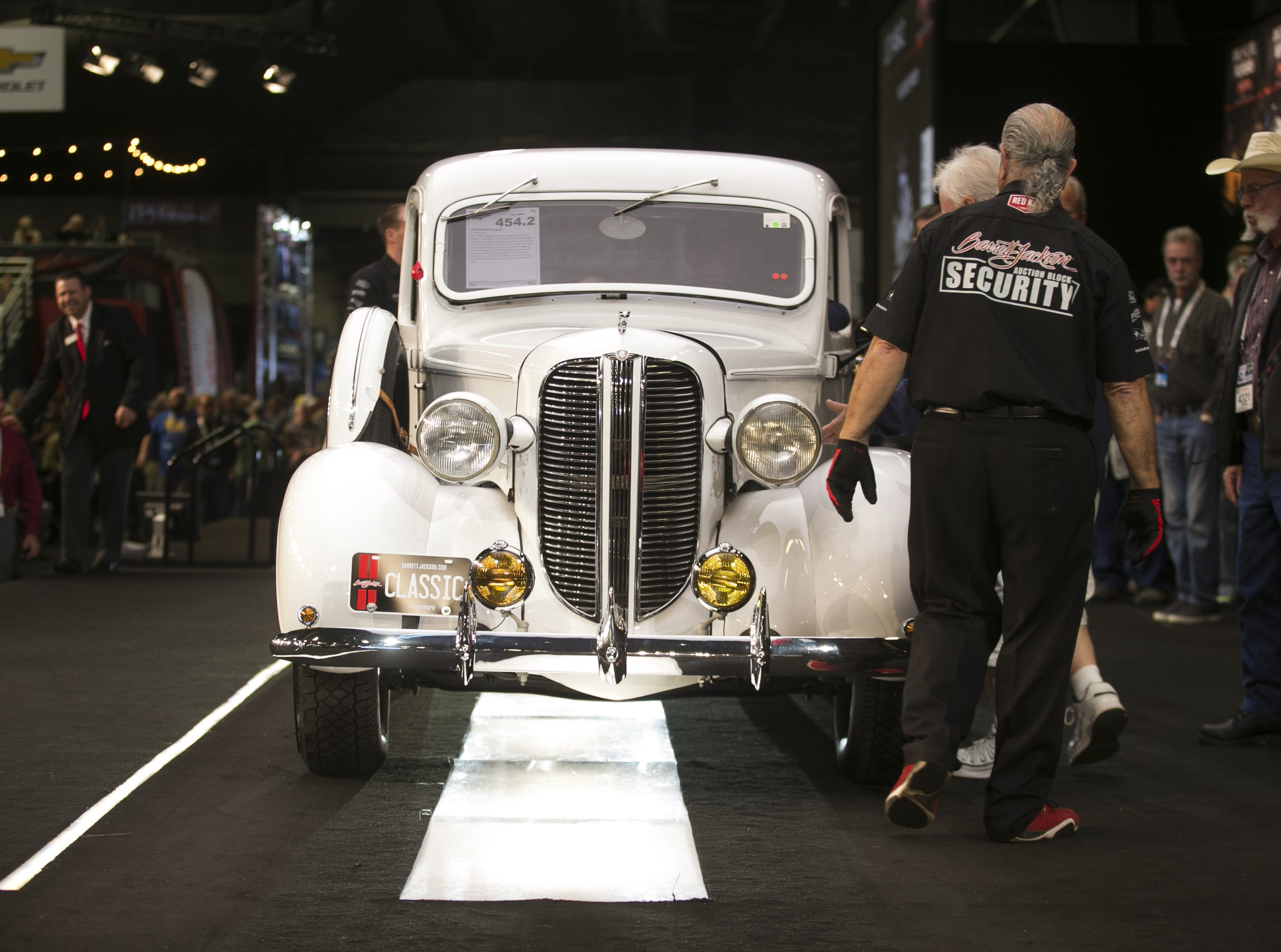 A 1938 Dodge Pickup is auctioned at the Barrett-Jackson Car Auction at WestWorld in Scottsdale, Arizona, on Jan. 16, 2019.