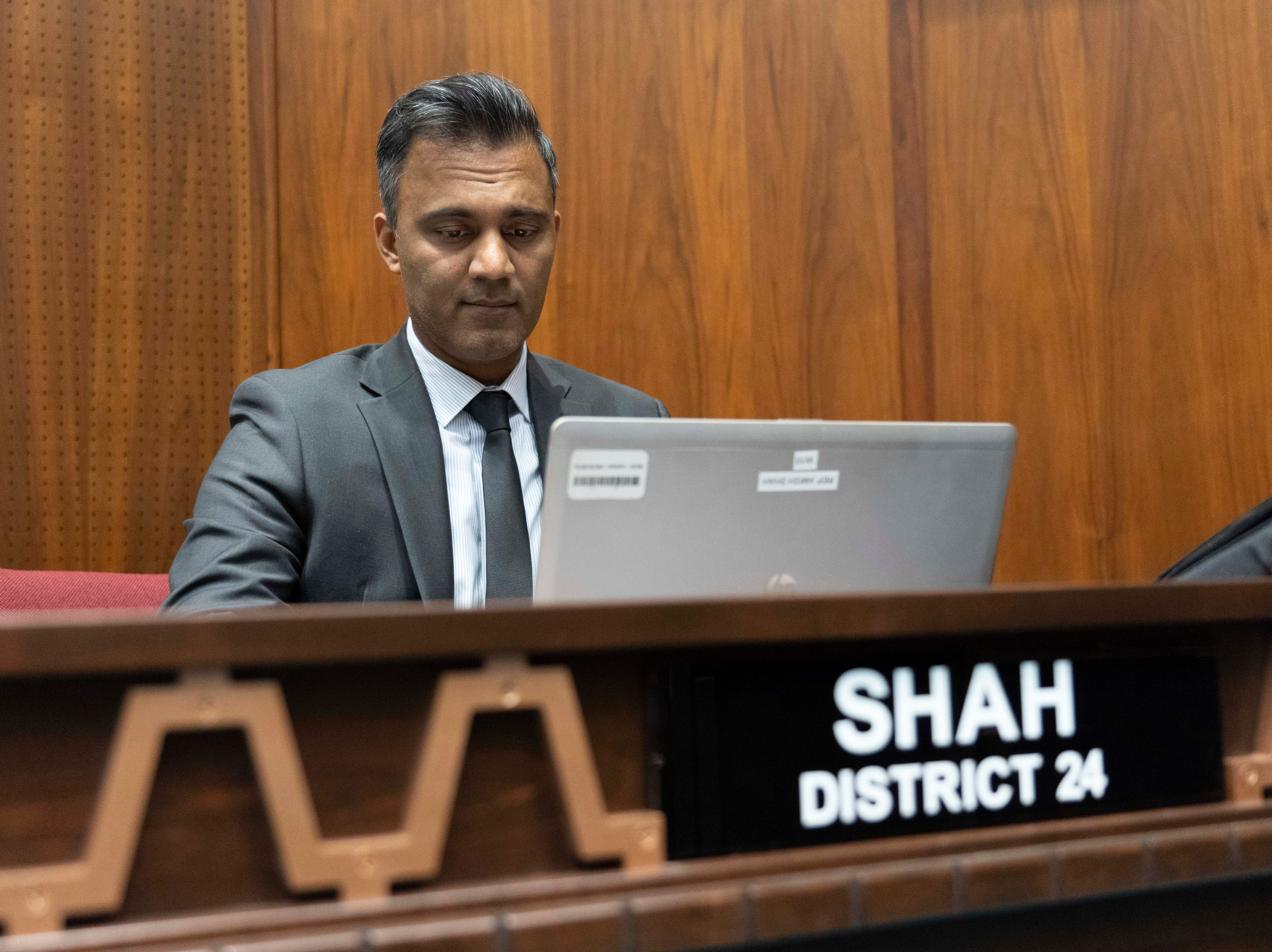 Newly elected Democratic Rep. Amish Shah from District 24 at the Arizona House floor.