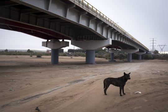 The dry Colorado riverbed, December 7, 2018, at the San Luis Rio Colorado Bridge in Mexico. The bridge is 22 miles south of Morelos Dam.