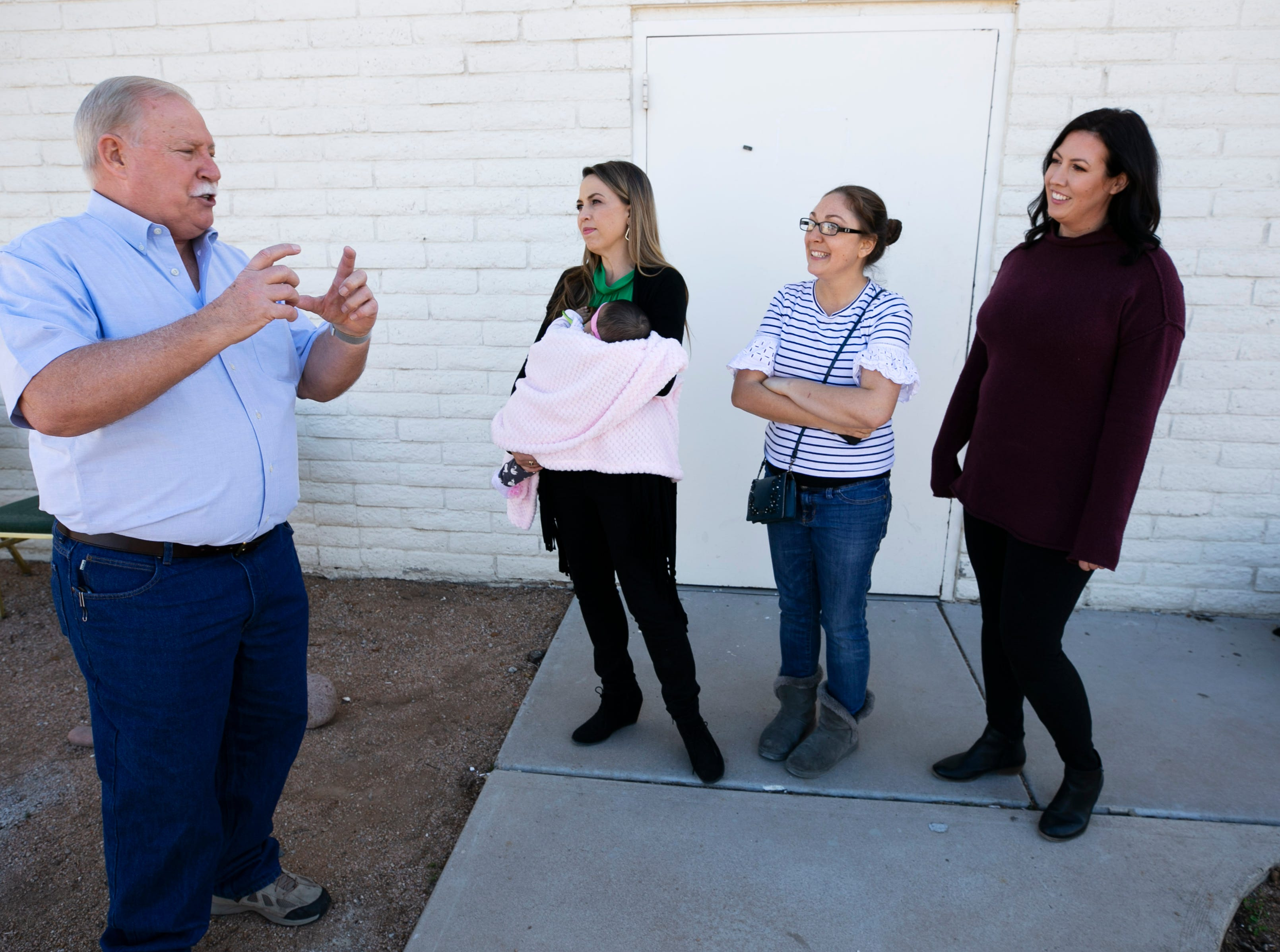 Randy Hansen of Mesa talks to Anika Robinson (from left), Angela Teachout and Susan Woodruff, co-founders of ASA Now, at the yet-to-be opened Jacob's Mission Community Center in Mesa on Jan. 14, 2019. Randy and his wife, Leslie Hansen, made a million-dollar donation to ASA Now, which is creating the community center that will provide support to foster-care families. Hansen made the donation paying off ASA Now's mortgage on the building for the community center after reading a story about ASA Now in The Arizona Republic/azcentral.com.