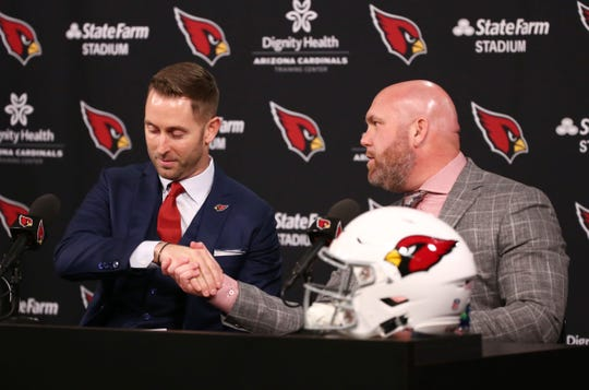 Cardinals General Manager Steve Keim welcomes new head coach Kliff Kingsbury during his introductory news conference on Jan. 9.