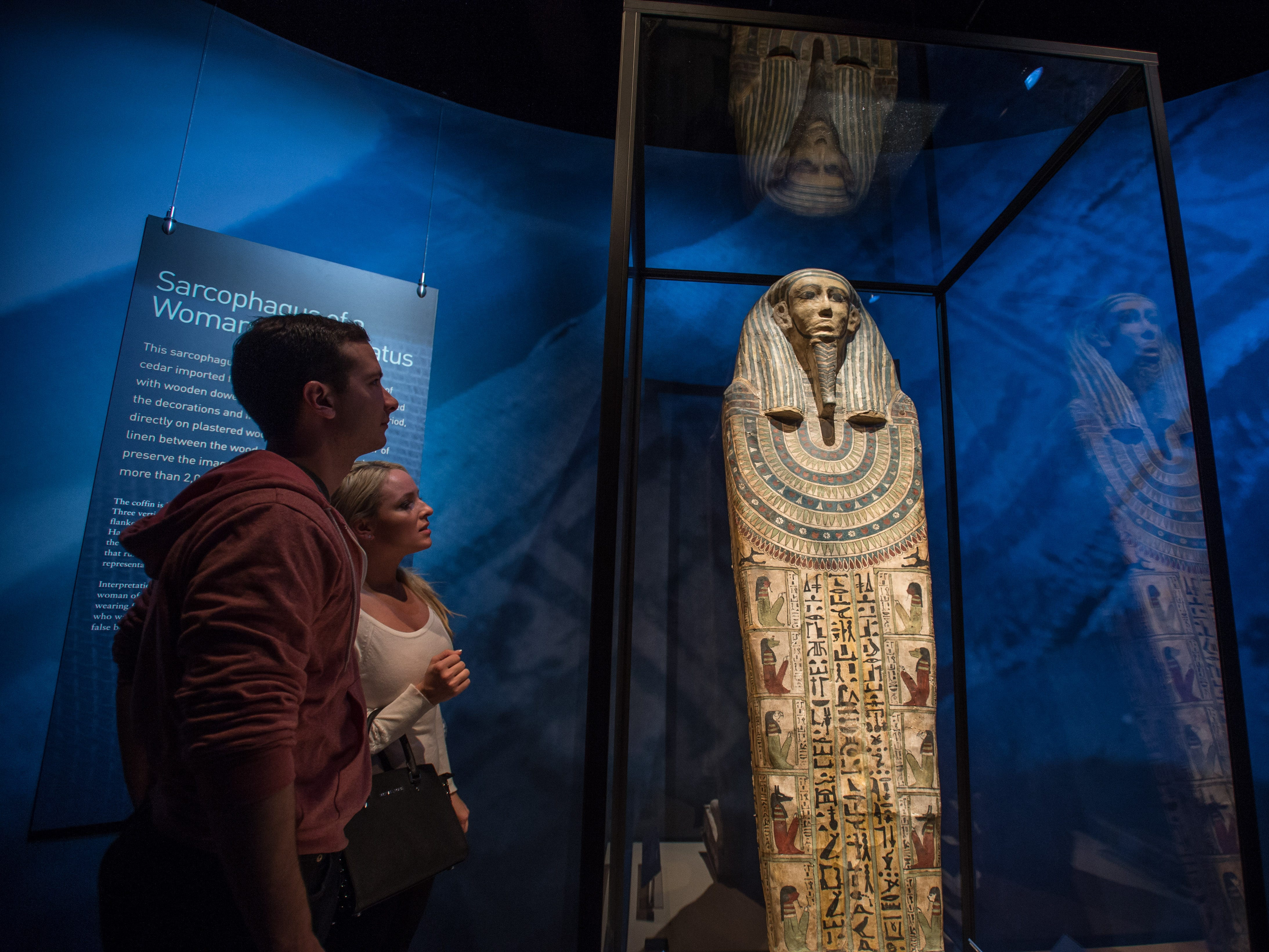 This Egyptian sarcophagus is part of the Mummies of the World: The Exhibition at the Arizona Science Center.