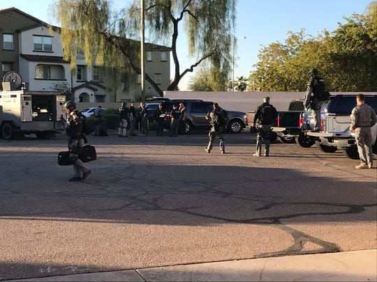 A man was on the run in Chandler after a police shooting occurred involving an Arizona Department of Transportation officer,  Jan. 17, 2019.