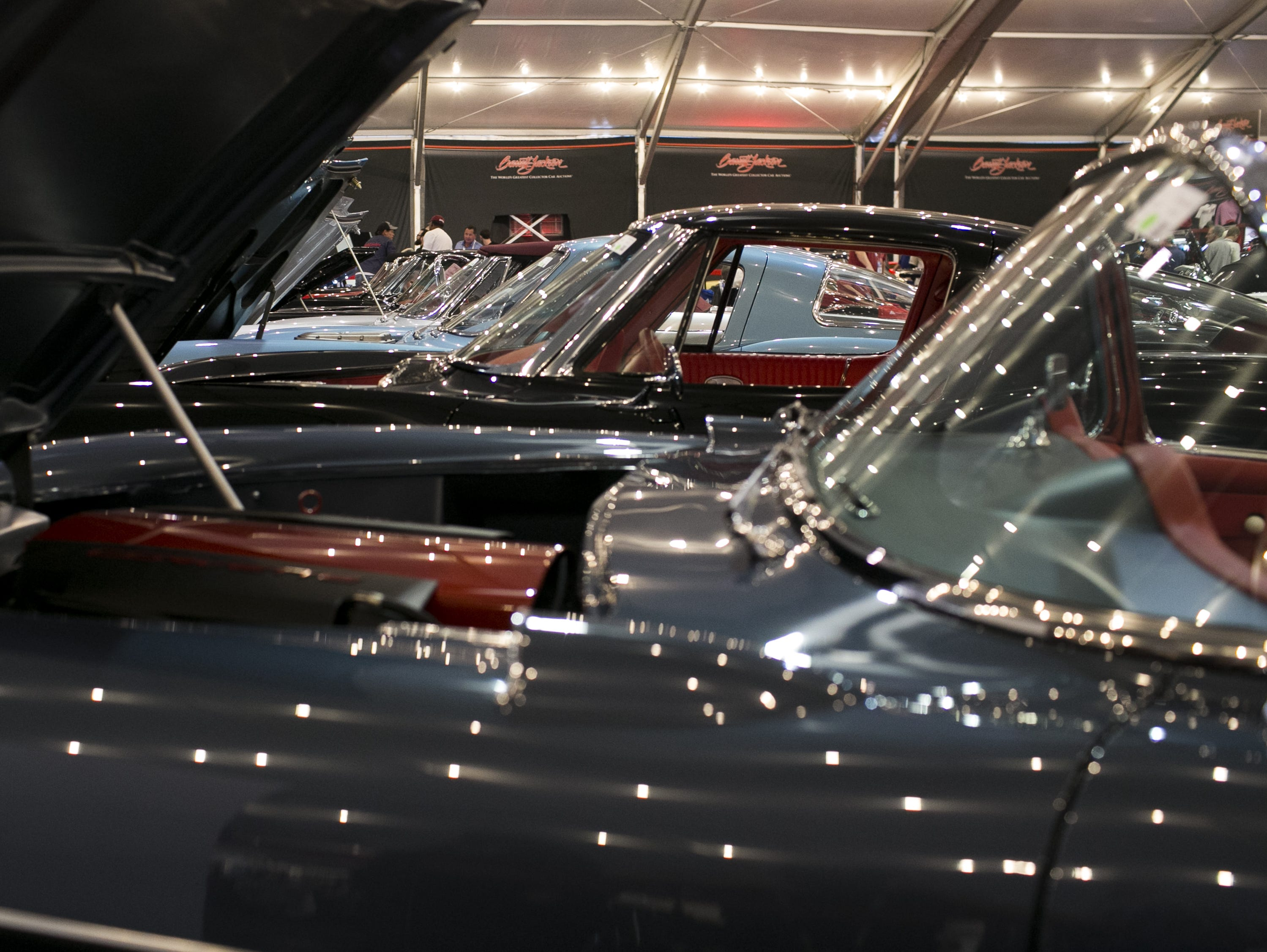 Classic cars sit at the Barrett-Jackson Car Auction at WestWorld in Scottsdale, Arizona, on  Jan. 16, 2019.
