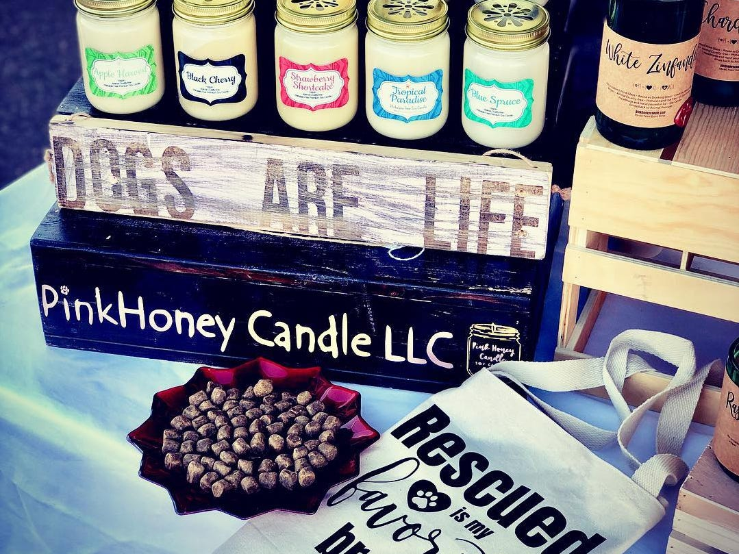 PinkHoney Candle products on display.