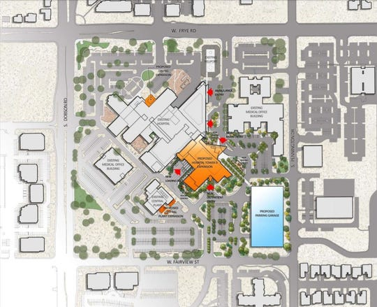 The expansion includes a new hospital tower and parking garage.