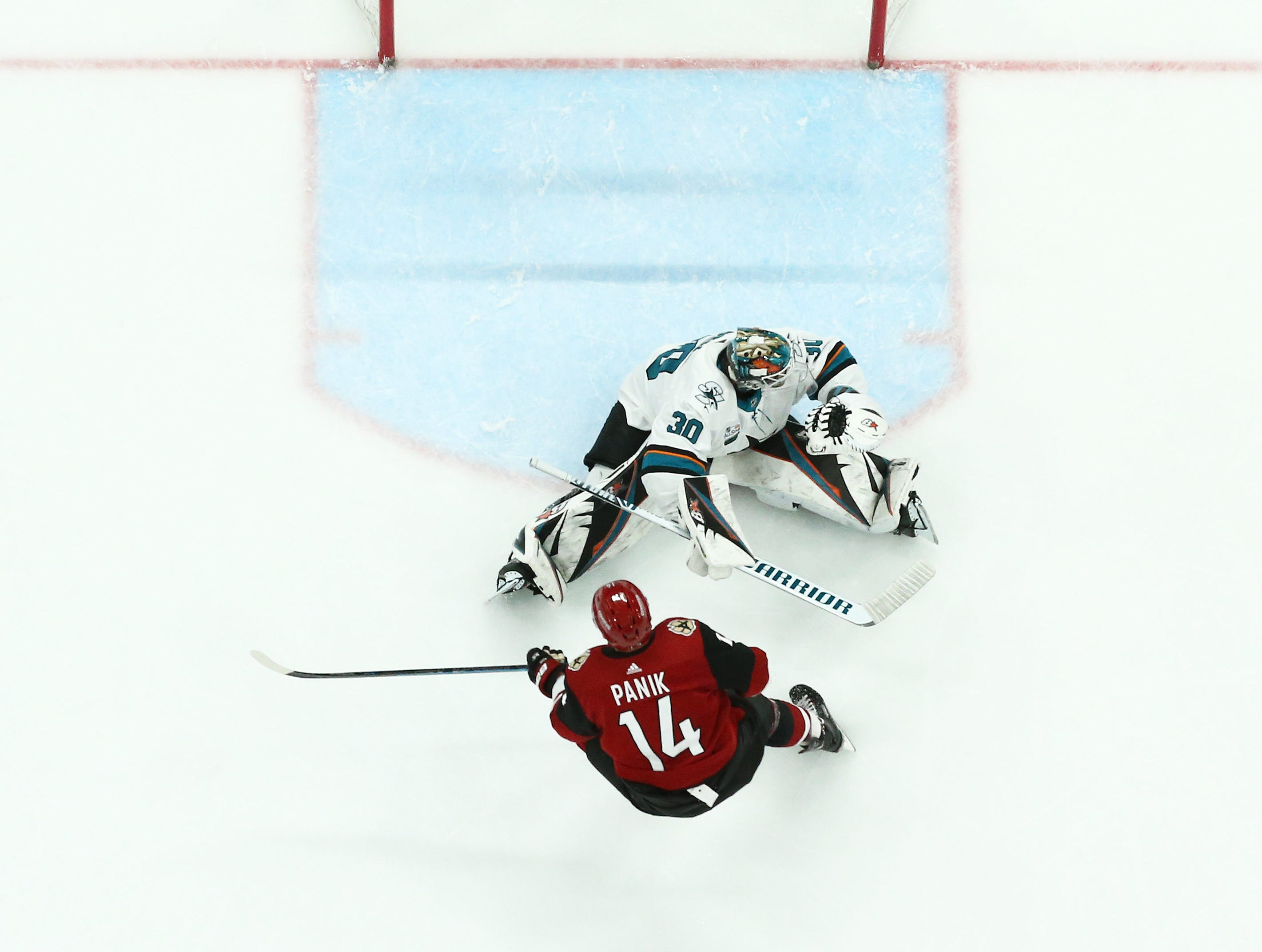 Arizona Coyotes' Richard Panik (14) scores against San Jose Sharks goalie Aaron Dell in the first period on Jan. 16 at Gila River Arena.