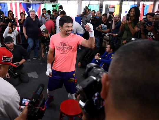 Manny Pacquiao se reporta listo para enfrentar el sábado a Adrien Broner.