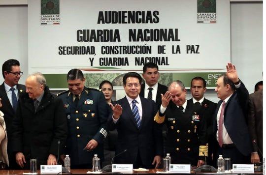 Mario Delgado encabezó la audiencia sobre la Guardia Nacional a la que asistieron los titulares de Sedena, Semar y SSPC.