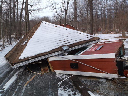 A hit-and-run driver destroyed this guard house at the PA Dutch Country RV Resort Wednesday night, police said.