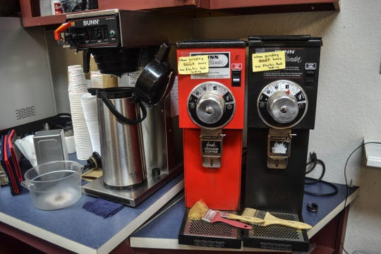 Come spring, these machines in the former Red, White and Brew coffee shop will once again be up and running as employees serve coffee under the shop's new name, Christy's Corner Café.