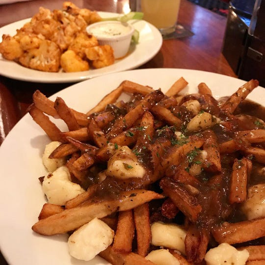 Poutine and Buffalo cauliflower at County Fare in Wappingers Falls.