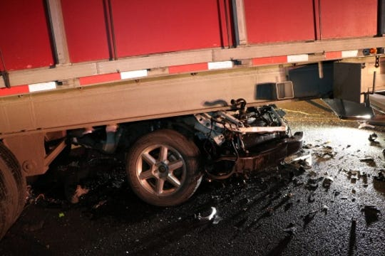 A GMC Envoy crashed into the side of a tractor-trailer just after 8 p.m. Jan. 16, 2019, in the 1500 block of Orchard Drive, Chambersburg.