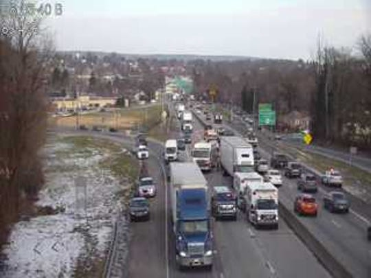 A crash on Interstate 83 northbound is restricting traffic the morning of Thursday, Jan. 17. Photo courtesy of 511pa.com.