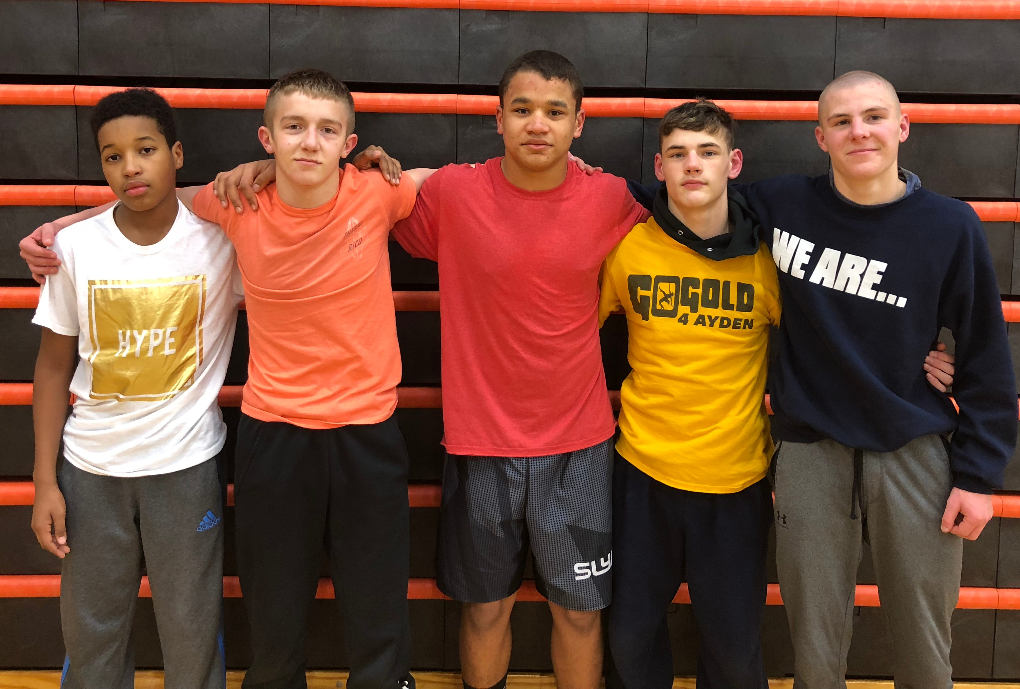 York Suburban has five freshman wrestlers who are a combined 81-23 this season. From left to right: Dequese Dillon, Noah Rice, Jamal Lewis, Zachary Emory and Bryson Neidigh.