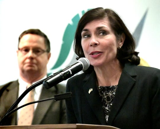 State Senator Kristin Philips-Hill speaks at the York County School of Technology during a press conference Thursday, Jan. 17, 2019. PA Schools Work, a statewide movement supporting fair public school funding, sponsored the meeting regarding workforce development. State Representative Stan Saylor, background, and other representatives attended. Bill Kalina photo