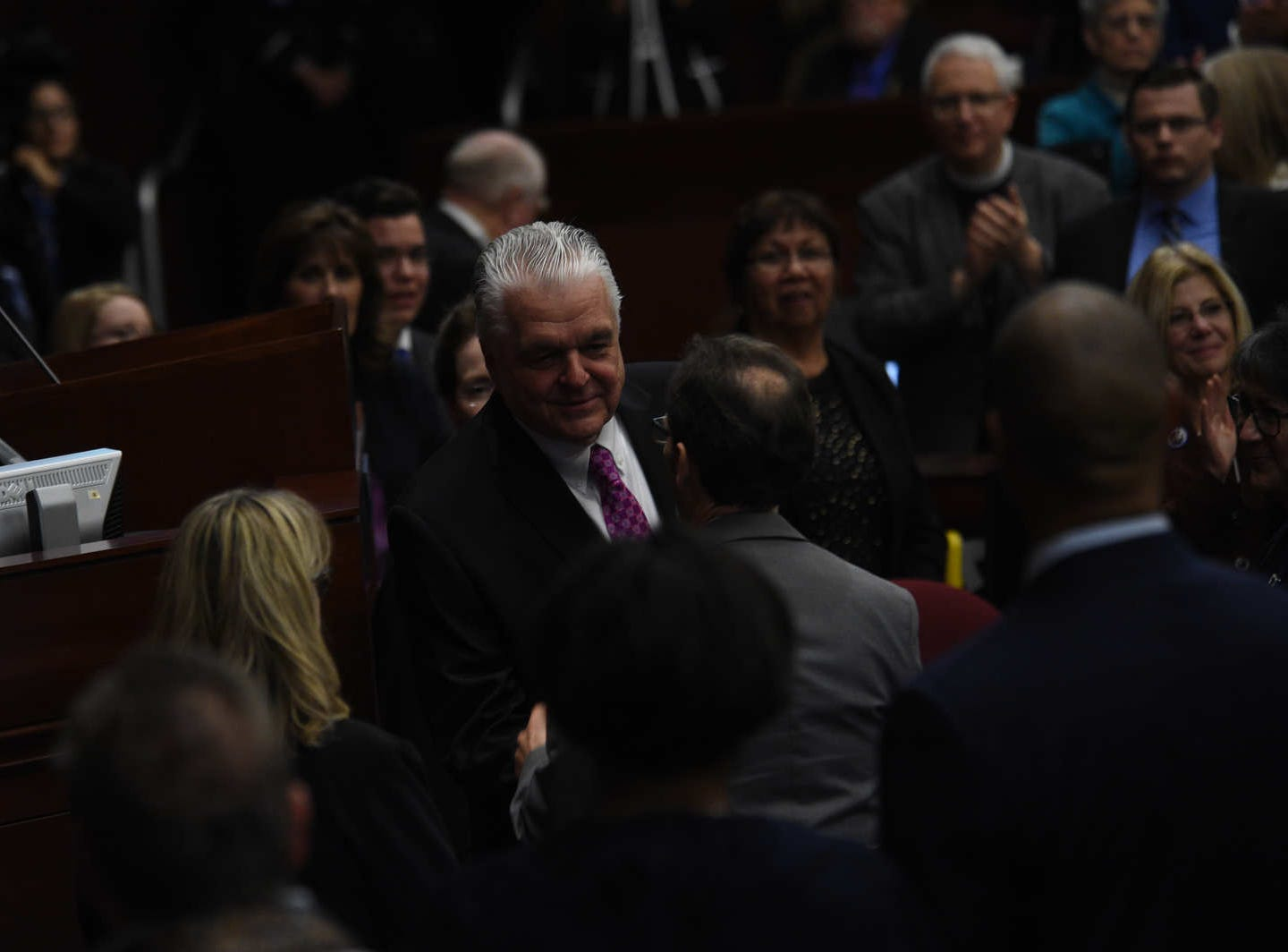 Governor of Nevada Steve Sisolak delivers his first State of the State address in the Assembly Chambers in the Nevada Legislative Building in Carson City on Jan. 16, 2019.