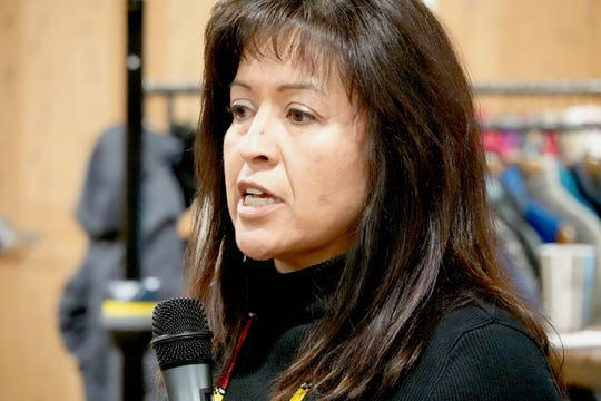 Fermina Stevens of the Te-Moak Band of Western Shoshone speaks out on Jan. 15, 2019 in downtown Reno against a proposal for oil and gas leases in the Ruby Mountains of Nevada.